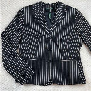 Ralph Lauren Pinstripe Silk/Cotton Blazer